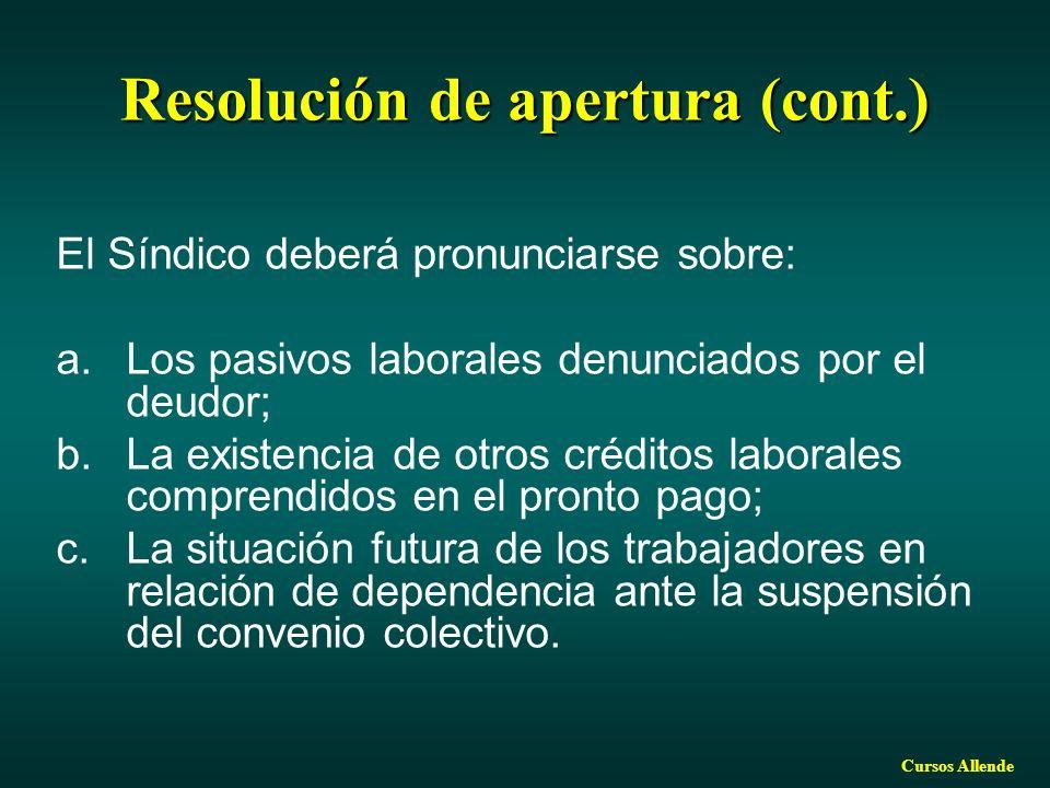 Resolución de apertura (cont.)