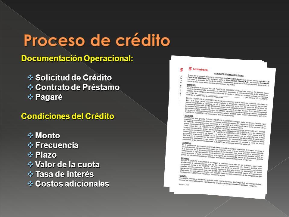 Proceso de crédito Documentación Operacional: Solicitud de Crédito