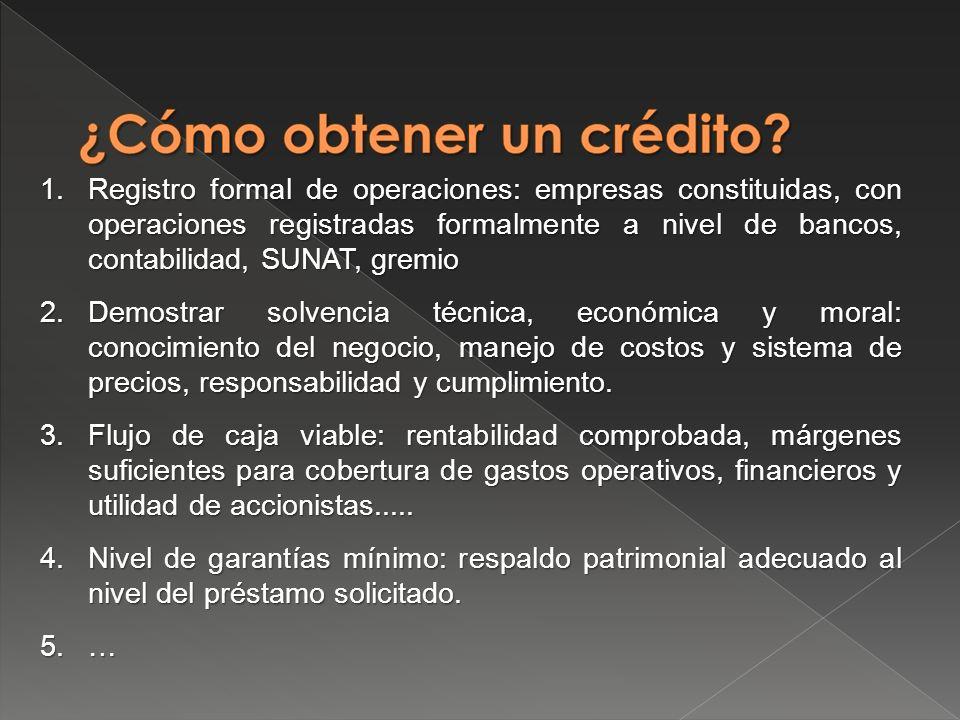 Registro formal de operaciones: empresas constituidas, con operaciones registradas formalmente a nivel de bancos, contabilidad, SUNAT, gremio