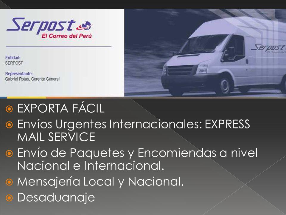 EXPORTA FÁCIL Envíos Urgentes Internacionales: EXPRESS MAIL SERVICE. Envío de Paquetes y Encomiendas a nivel Nacional e Internacional.