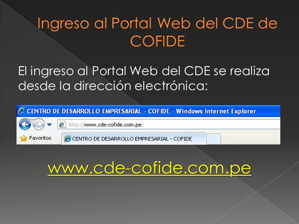 Ingreso al Portal Web del CDE de COFIDE