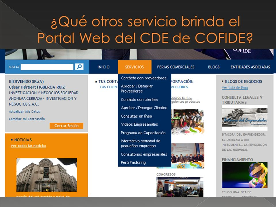 ¿Qué otros servicio brinda el Portal Web del CDE de COFIDE