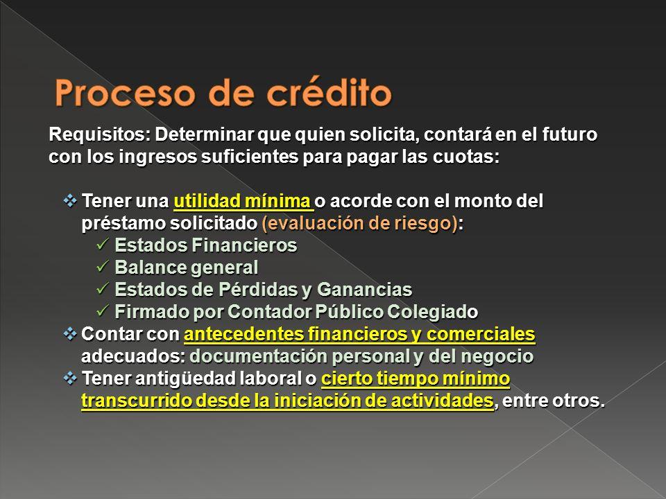 Proceso de crédito Requisitos: Determinar que quien solicita, contará en el futuro con los ingresos suficientes para pagar las cuotas: