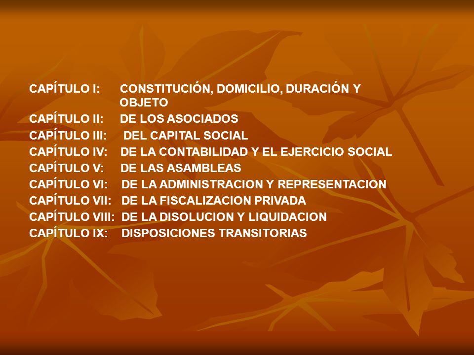 CAPÍTULO l: CONSTITUCIÓN, DOMICILIO, DURACIÓN Y OBJETO