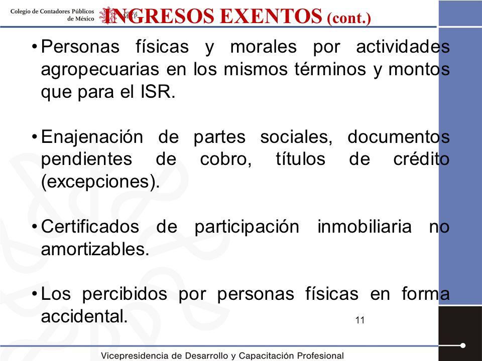 INGRESOS EXENTOS (cont.)