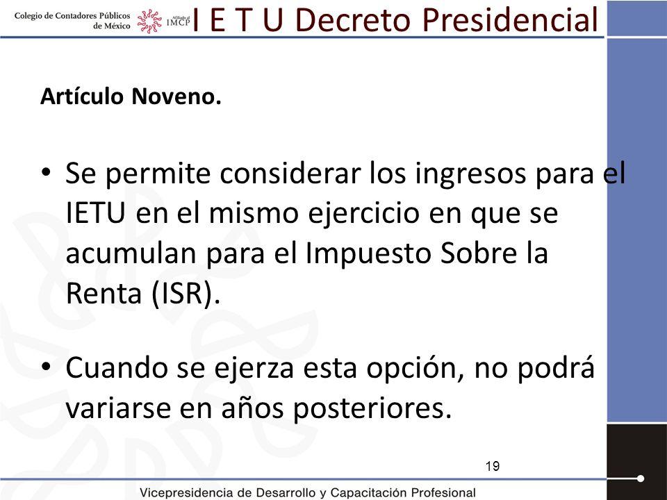 I E T U Decreto Presidencial