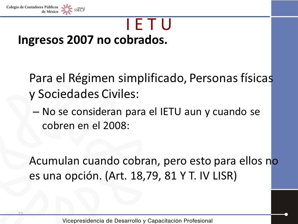 I E T U Ingresos 2007 no cobrados.