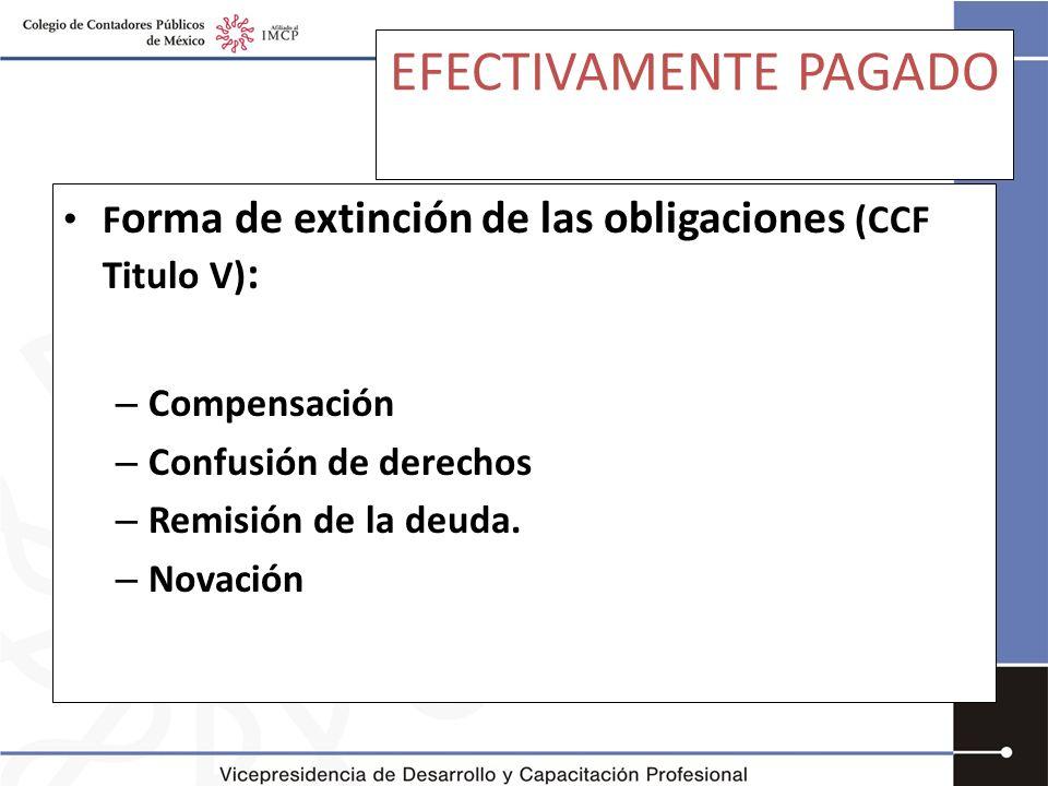 EFECTIVAMENTE PAGADO Forma de extinción de las obligaciones (CCF Titulo V): Compensación. Confusión de derechos.