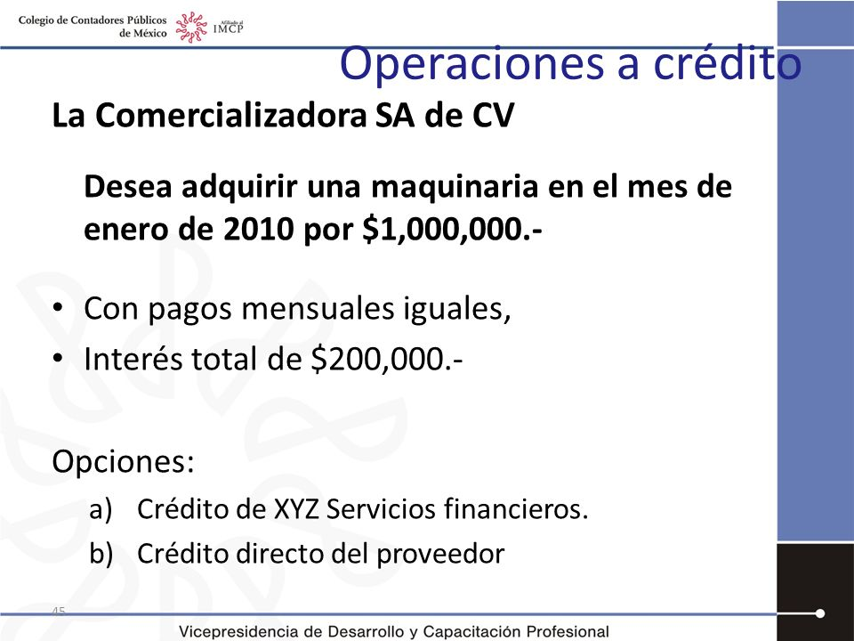 Operaciones a crédito La Comercializadora SA de CV