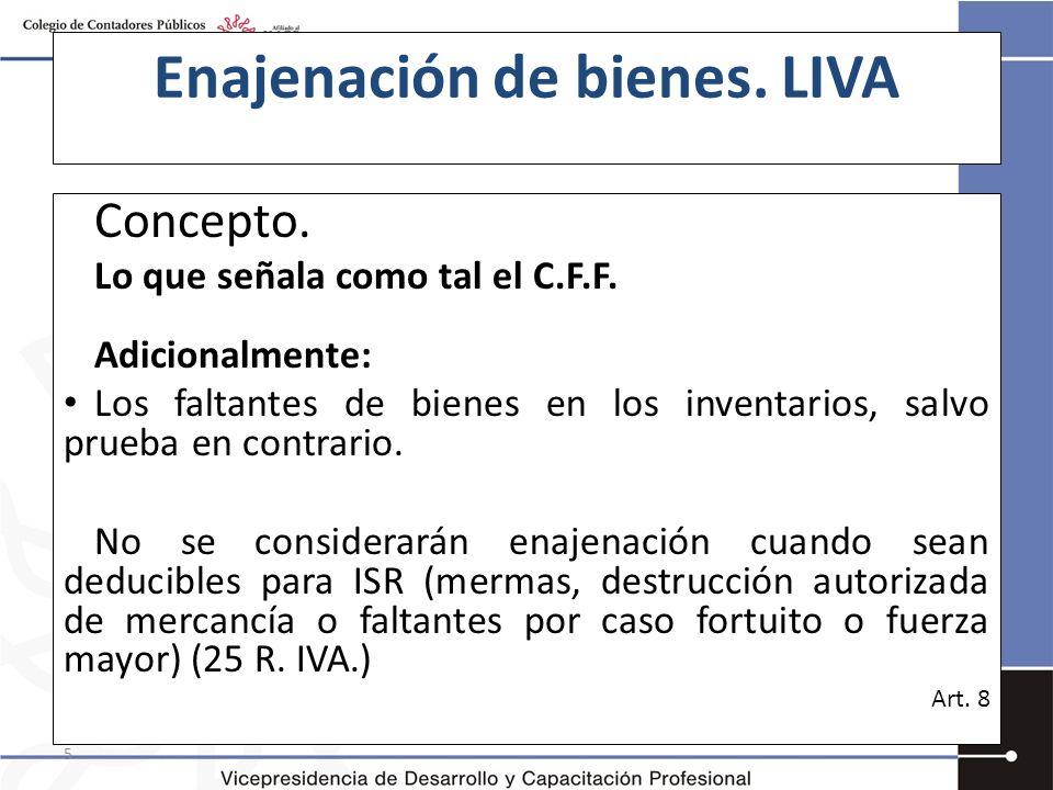 Enajenación de bienes. LIVA