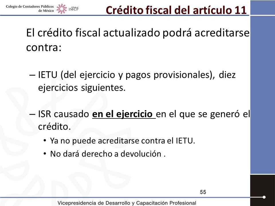 Crédito fiscal del artículo 11