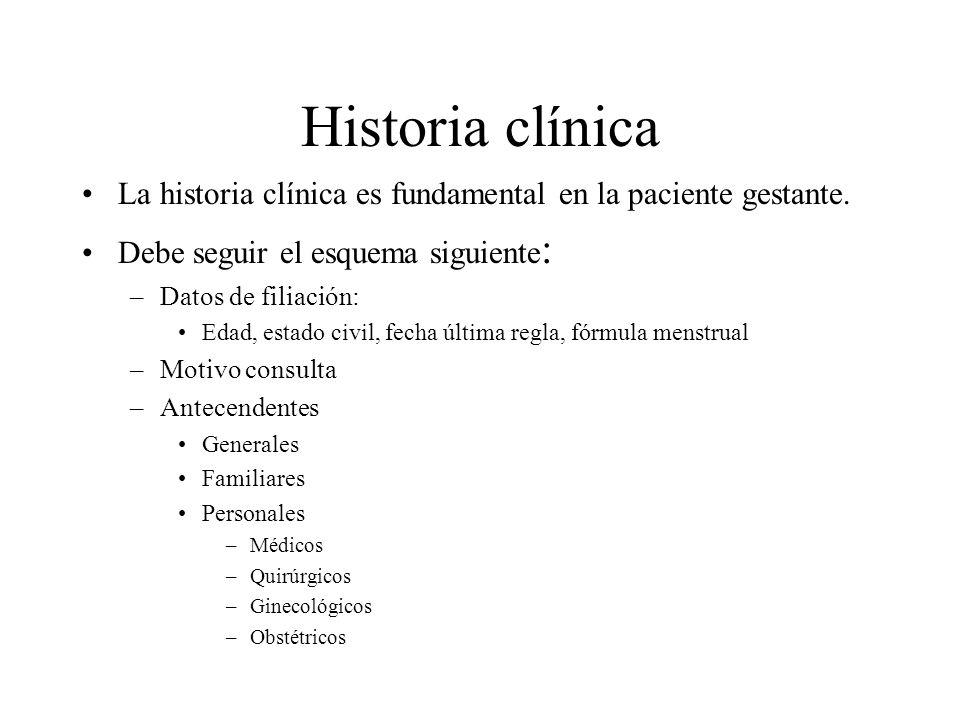 Historia clínica La historia clínica es fundamental en la paciente gestante. Debe seguir el esquema siguiente: