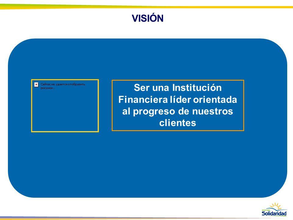 VISIÓN Ser una Institución Financiera líder orientada al progreso de nuestros clientes