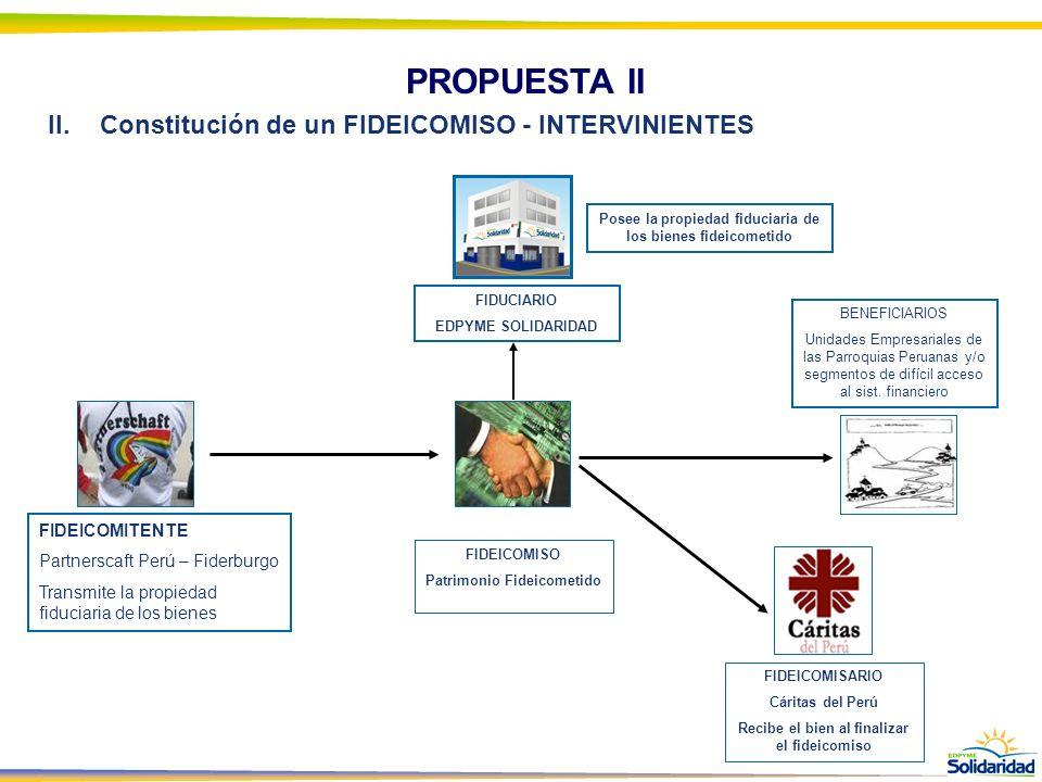 PROPUESTA II Constitución de un FIDEICOMISO - INTERVINIENTES
