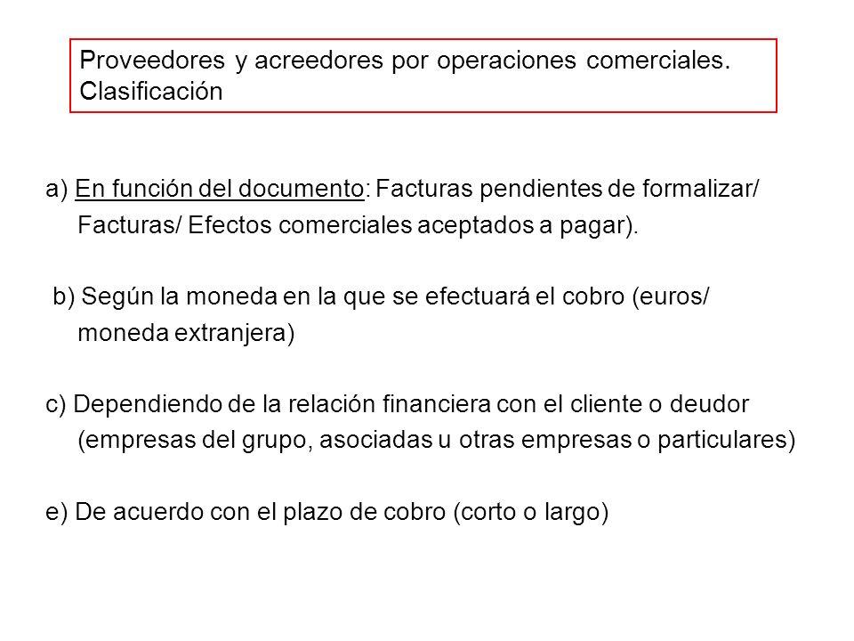 Proveedores y acreedores por operaciones comerciales. Clasificación