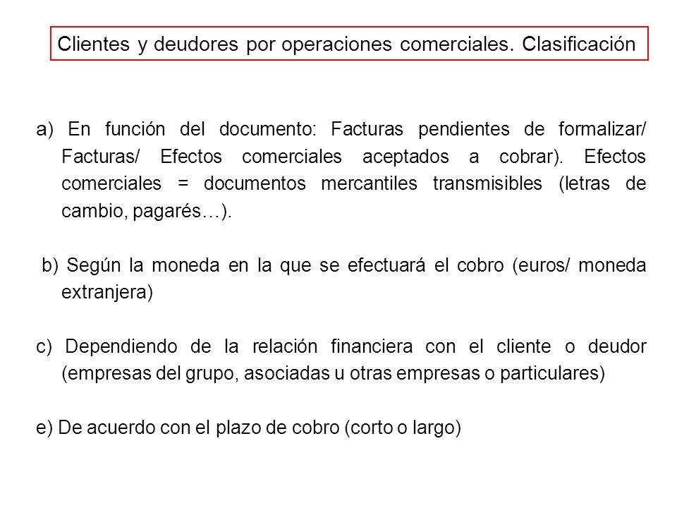 Clientes y deudores por operaciones comerciales. Clasificación