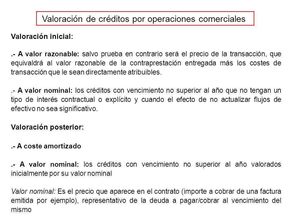 Valoración de créditos por operaciones comerciales