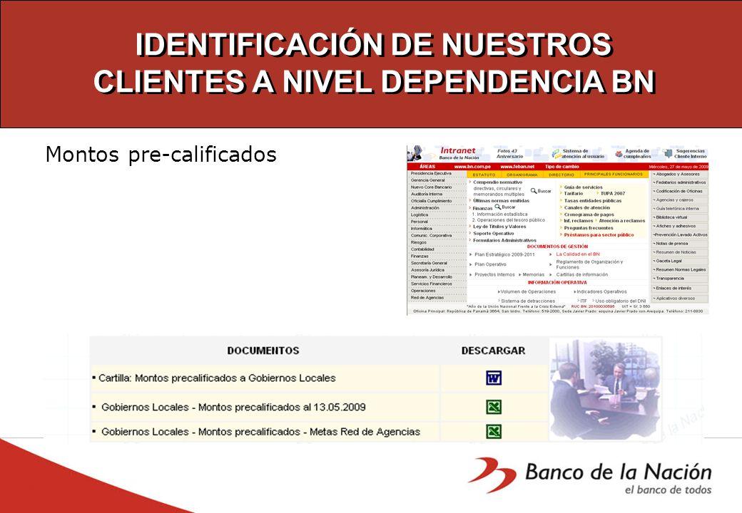 IDENTIFICACIÓN DE NUESTROS CLIENTES A NIVEL DEPENDENCIA BN