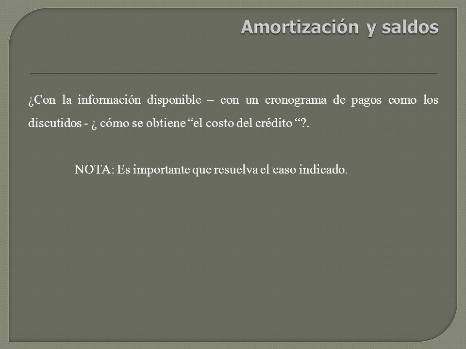 Amortización y saldos ¿Con la información disponible – con un cronograma de pagos como los discutidos - ¿ cómo se obtiene el costo del crédito .