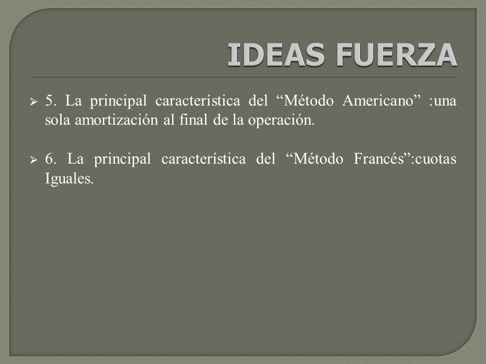 IDEAS FUERZA 5. La principal característica del Método Americano :una sola amortización al final de la operación.
