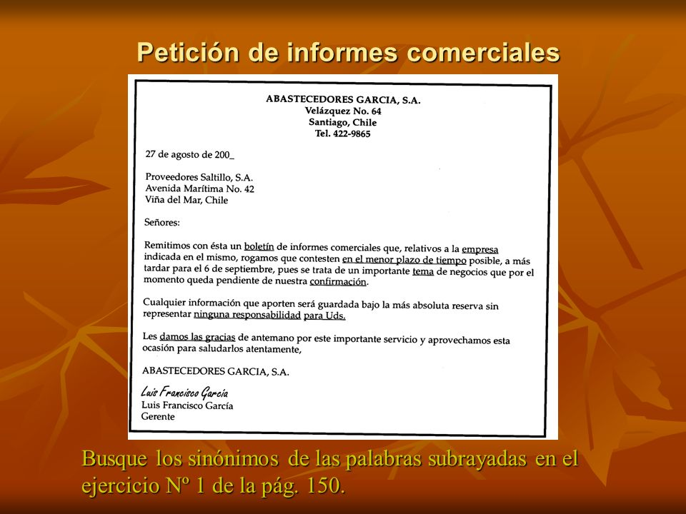Petición de informes comerciales