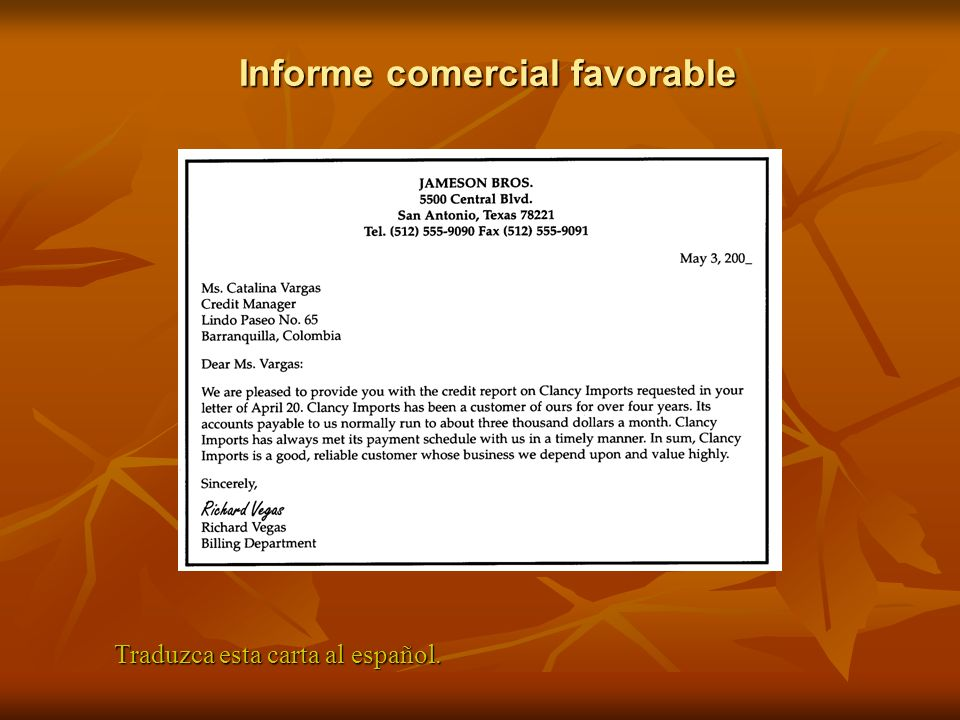 Informe comercial favorable