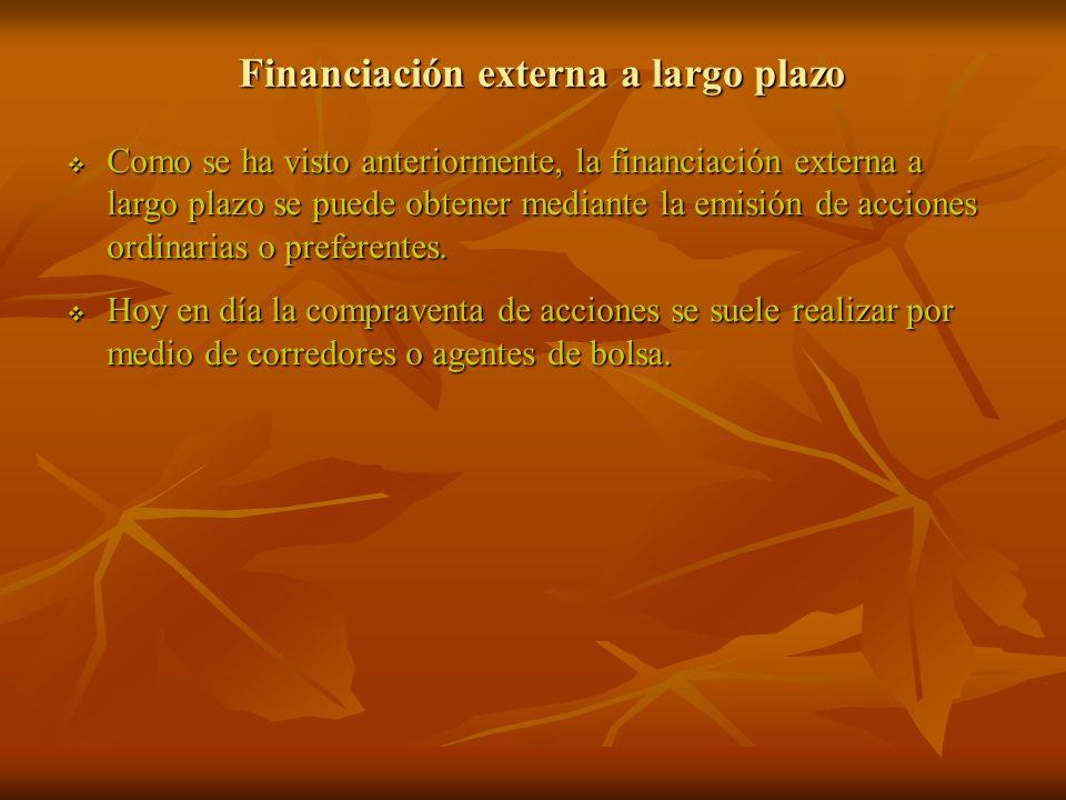 Financiación externa a largo plazo