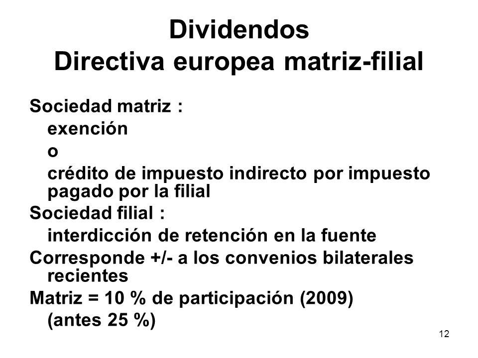 Dividendos Directiva europea matriz-filial