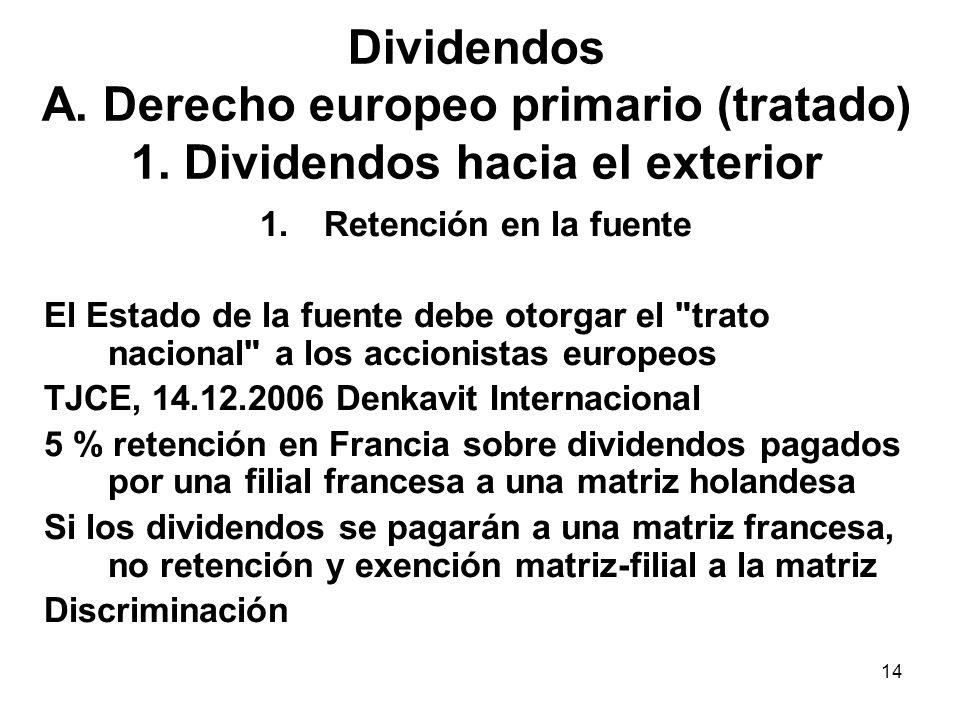 Dividendos A. Derecho europeo primario (tratado) 1
