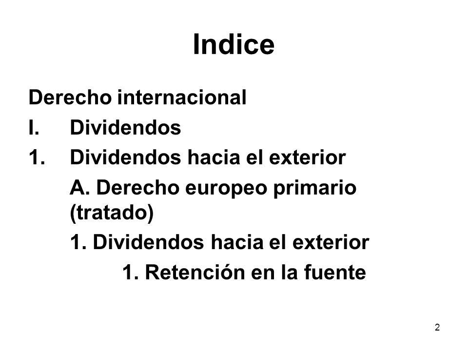Indice Derecho internacional Dividendos Dividendos hacia el exterior
