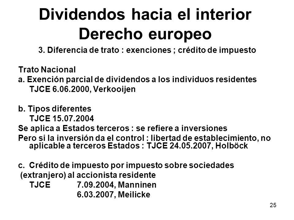 Dividendos hacia el interior Derecho europeo