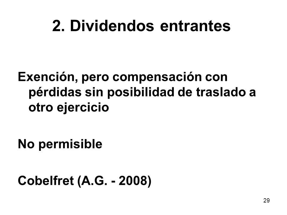2. Dividendos entrantes Exención, pero compensación con pérdidas sin posibilidad de traslado a otro ejercicio.