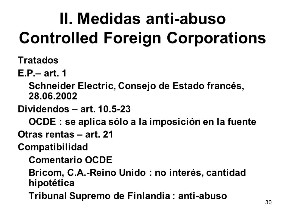 II. Medidas anti-abuso Controlled Foreign Corporations