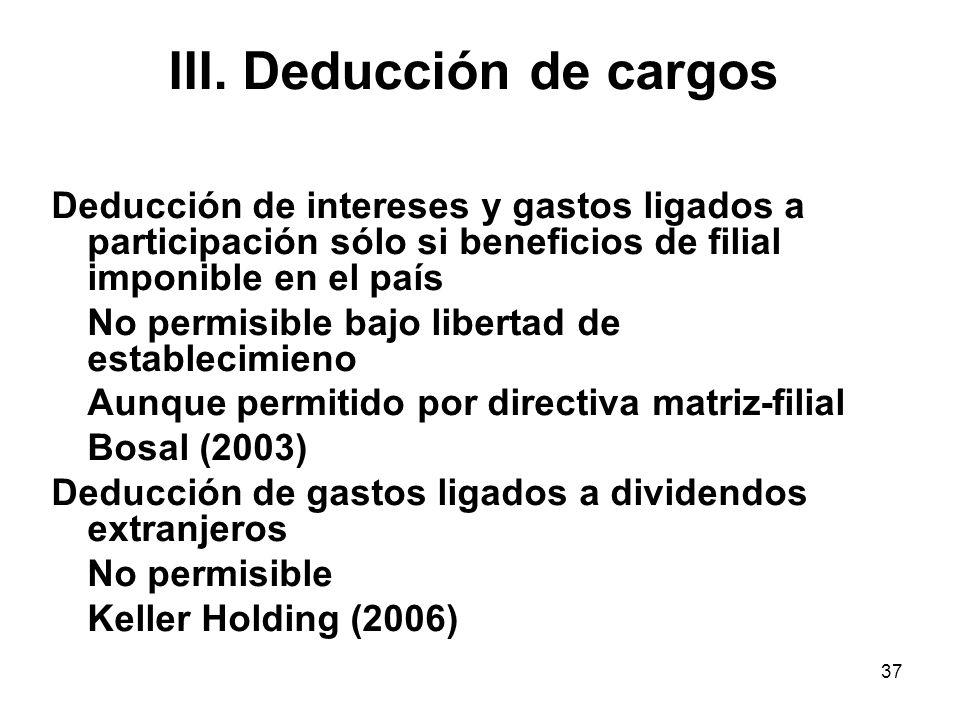 III. Deducción de cargos