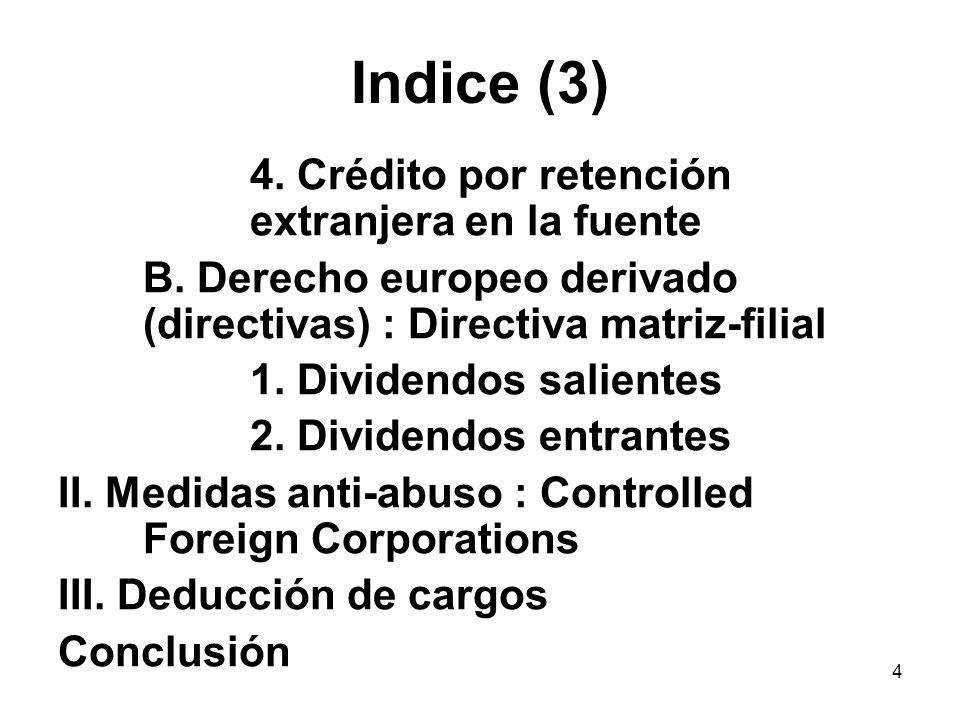Indice (3) 4. Crédito por retención extranjera en la fuente