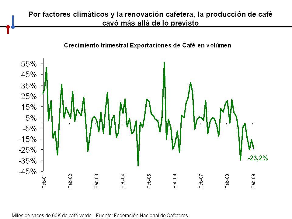 Por factores climáticos y la renovación cafetera, la producción de café cayó más allá de lo previsto