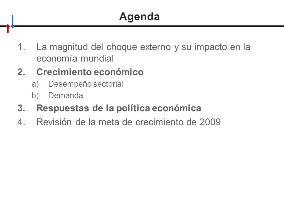 Agenda La magnitud del choque externo y su impacto en la economía mundial. Crecimiento económico. Desempeño sectorial.
