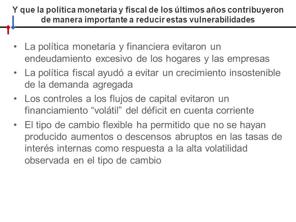 Y que la política monetaria y fiscal de los últimos años contribuyeron de manera importante a reducir estas vulnerabilidades