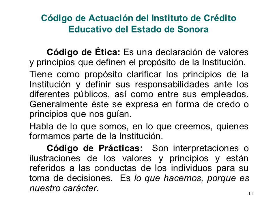 Código de Actuación del Instituto de Crédito Educativo del Estado de Sonora