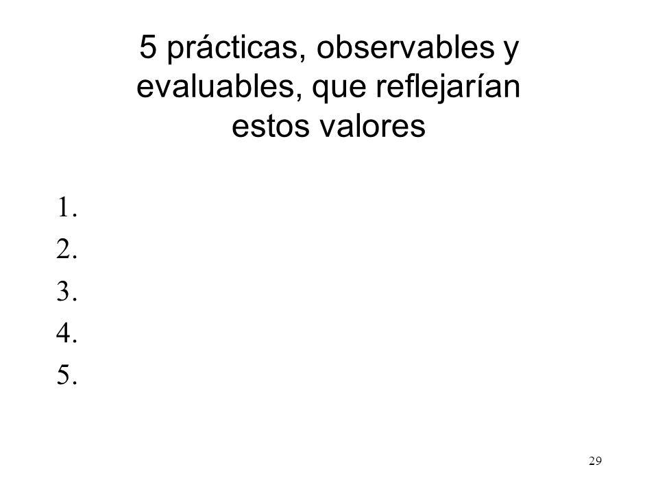 5 prácticas, observables y evaluables, que reflejarían estos valores