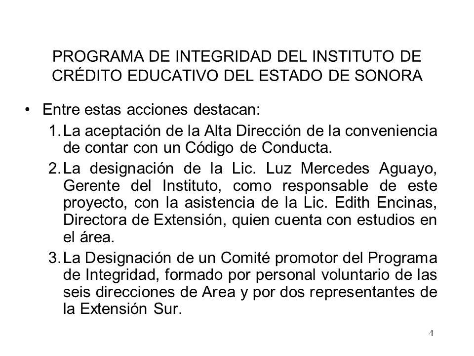 PROGRAMA DE INTEGRIDAD DEL INSTITUTO DE CRÉDITO EDUCATIVO DEL ESTADO DE SONORA
