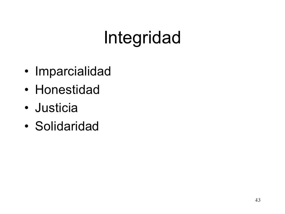 Integridad Imparcialidad Honestidad Justicia Solidaridad