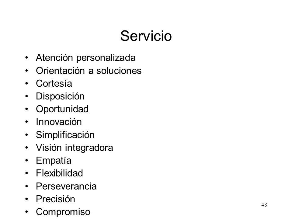 Servicio Atención personalizada Orientación a soluciones Cortesía
