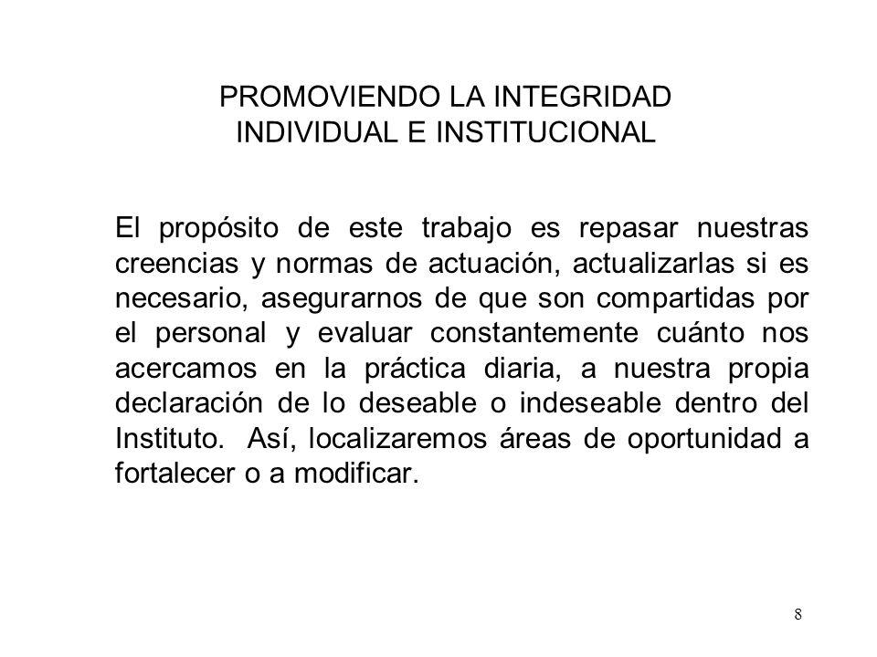 PROMOVIENDO LA INTEGRIDAD INDIVIDUAL E INSTITUCIONAL