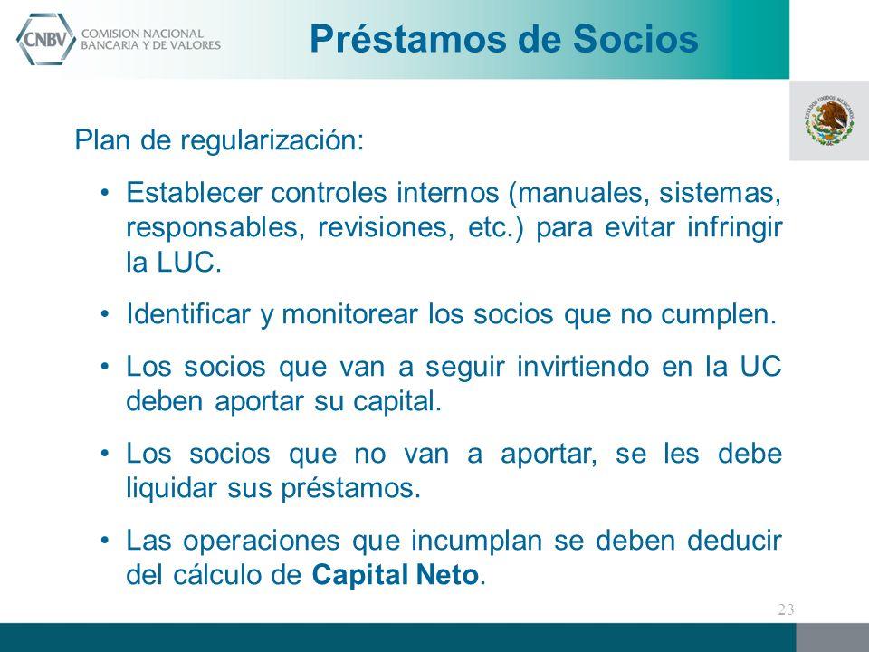 Préstamos de Socios Plan de regularización: