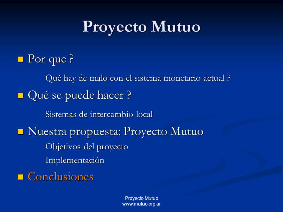 Proyecto Mutuo www.mutuo.org.ar