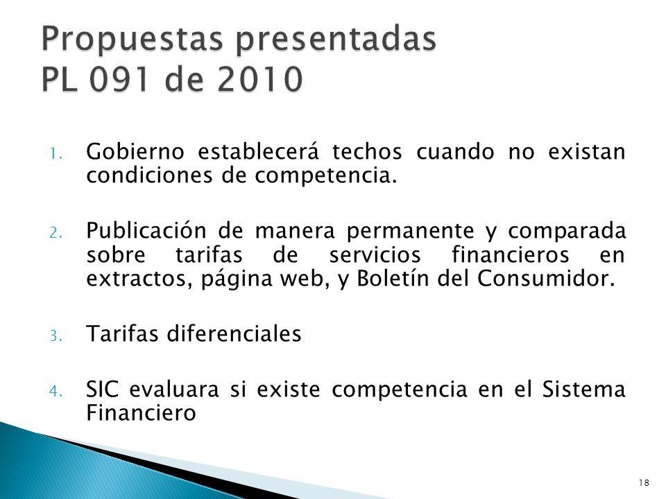 Propuestas presentadas PL 091 de 2010