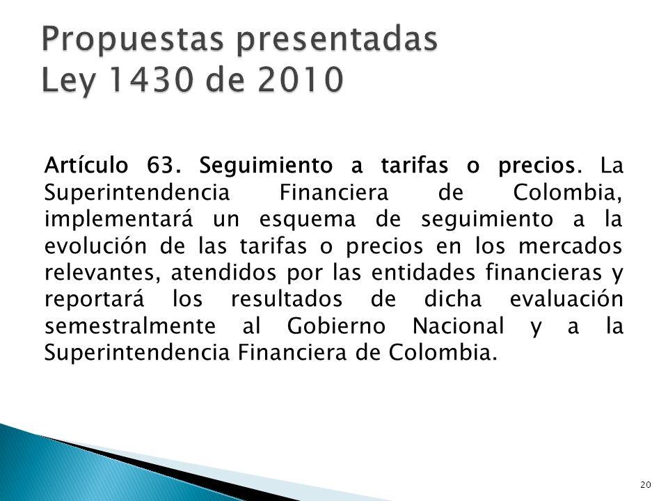 Propuestas presentadas Ley 1430 de 2010