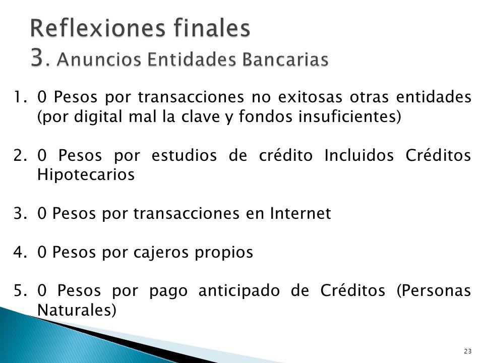 Reflexiones finales 3. Anuncios Entidades Bancarias