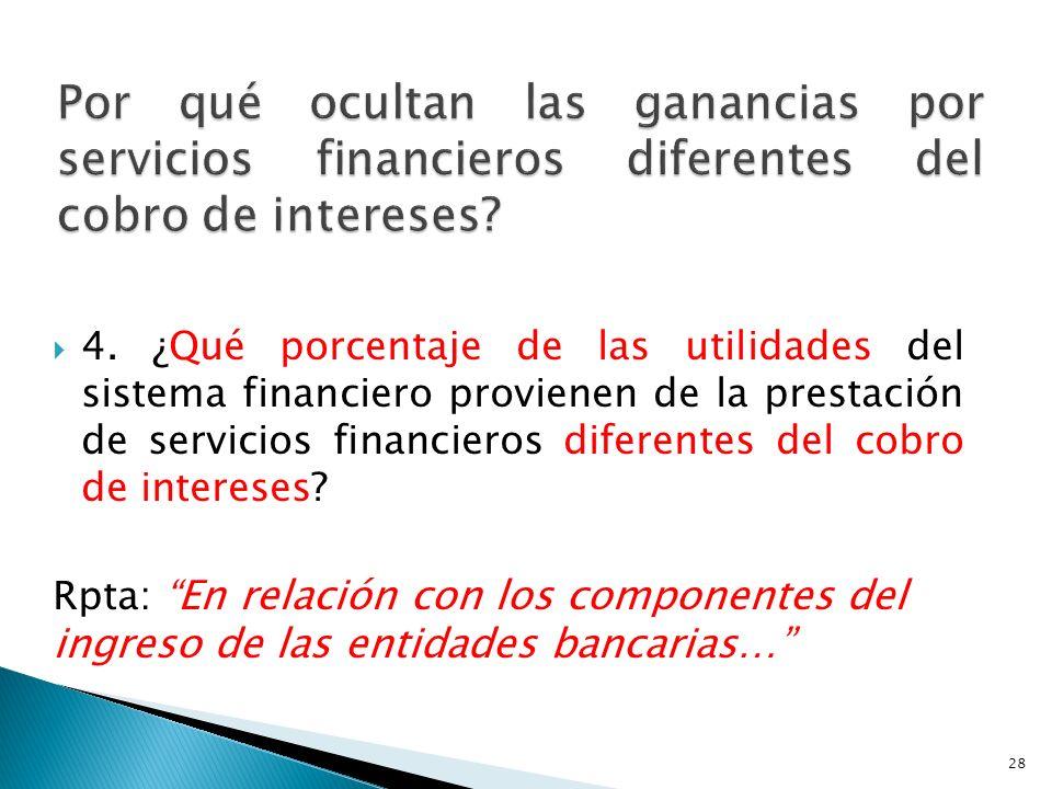 Por qué ocultan las ganancias por servicios financieros diferentes del cobro de intereses